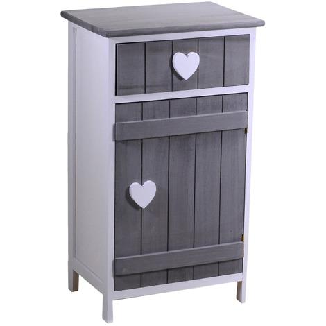 Mobile cassettiera Valeria cuore bianca in legno 1 cassetto e 1 anta in  legno grigio comodino contenitore a torre porta tutto per camera corridoio  ...