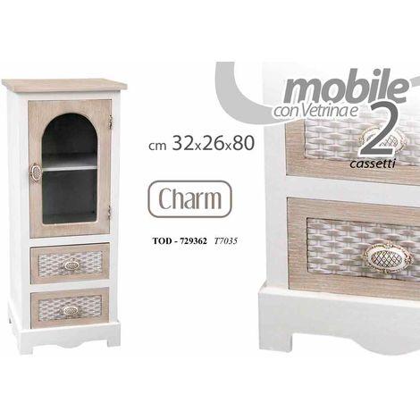 Mobile con 1 anta vetrina 2 cassetti bianco e legno arredamento casa ...