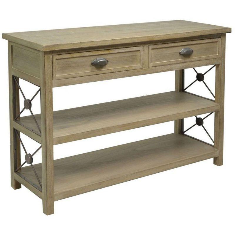 Mobile consolle scrivania rettangolare da ingresso 120x40h83 cm in legno  shabby sabbia 2 cassetti porta oggetti per camera corridoio salotto cucina  ...