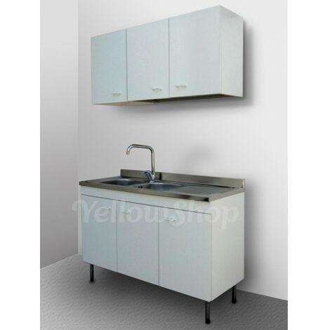 Mobile cucina cm. 120x50 3 ante dx completo di lavello dx, pensile cm. 40  dx e scolapiatti cm. 80 col. bianco