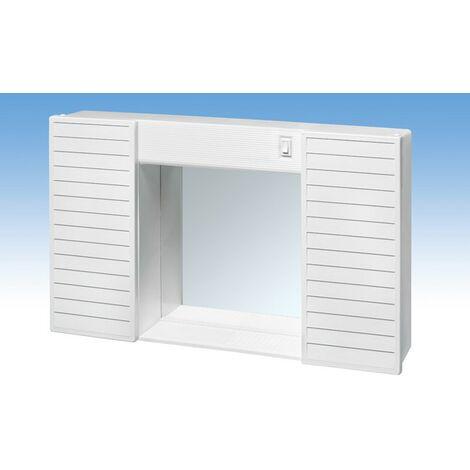 Specchio Bagno Plastica.Mobile Da Bagno Con Specchio Luce In Resina Sospeso Mobiletto 2 Ante Plastica