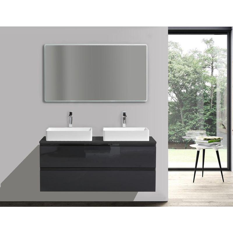 Specchio Bagno Nero.Mobile Da Bagno Luxx 1200 Nero Con Piastra D Appoggio Specchio A Scelta