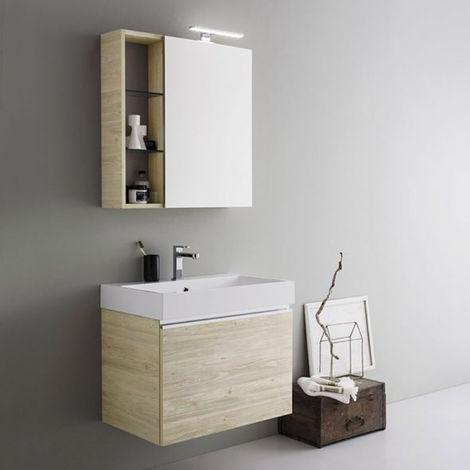 Mobile da bagno sospeso con cassettone da cm 70x45 con specchio ...