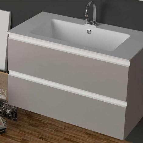 Mobile da bagno sospeso con lavabo in Ocritech da 106 cm Xilon ...