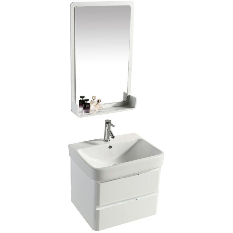 Mobile Bagno Sospeso 60 Cm In Pvc Con Specchiera Vorich White Bianco