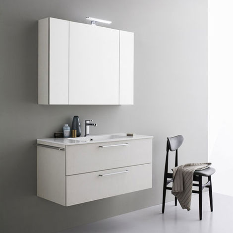 Specchio Bagno Con Faretti.Mobile Da Bagno Sospeso Moderno Da Cm 100x45 Con Specchio Contenitore E Faretto Led