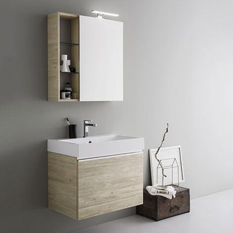 Mobile da bagno sospeso moderno da cm 70x45 con specchio contenitore e  faretto led