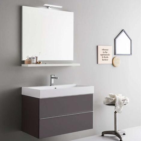 Faretti Per Specchio Da Bagno.Mobile Da Bagno Sospeso Moderno Da Cm 80x45 Con Specchio E Faretto Led