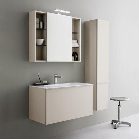 Pensile Specchio Contenitore Per Bagno.Mobile Da Bagno Sospeso Moderno Da Cm 90x45 Con Specchio Contenitore E Faretto Led
