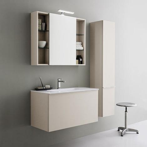 Mobile da bagno sospeso moderno da cm 90x45 con specchio contenitore e faretto led legno story for Mobile da bagno moderno