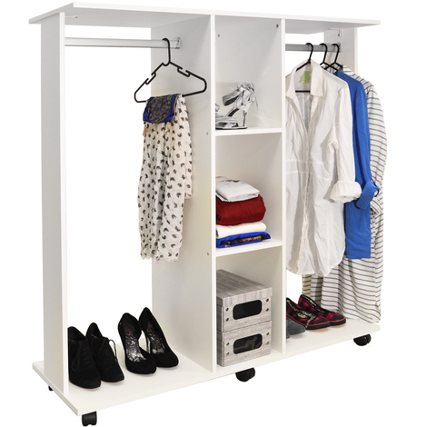 MOBILE - Double Open Wardrobe / Clothes Hanging Rail - White