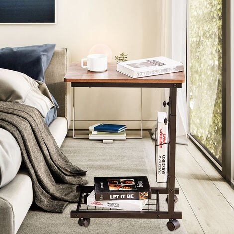 Mobile End Coffee Table C Shape Sofa Bed Side Table with Wheel Height Adjustable