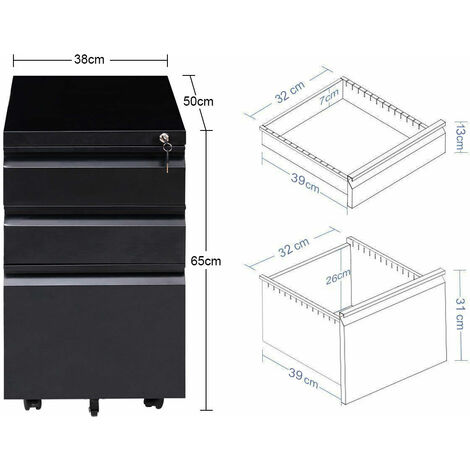Mobile File Cabinet 3 Pedestal Drawers Filing A4 Storage Lockable Casters Office