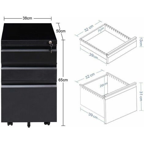 Mobile File Cabinet 3 Pedestal Drawers Filing A4 Storage Lockable Casters Office Black