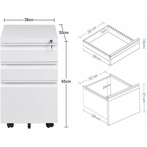 Mobile File Cabinet 3 Pedestal Drawers Filing A4 Storage Lockable Casters Office White