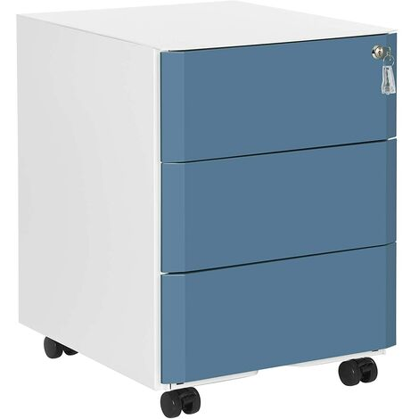 Mobile File Cabinet, Lockable, Metal Filing Pedestal with 3 Drawers, Hold Documents, Stationery, Hanging Folders, for Office, Home Office, White and Slate Blue OFC70WB