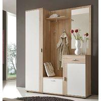 Mobile ingresso appendiabiti corridoio guardaroba con specchio rovere e  bianco