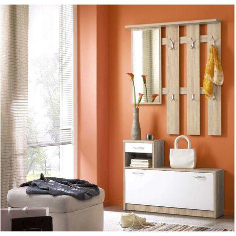 Appendiabiti Con Specchio.Mobile Ingresso Scarpiera Guardaroba Moderno Con Specchio E Appendiabiti