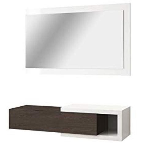 Mobile Ingresso Sospeso 1cassetto Specchio Parete Legno Bianco Marrone 97244
