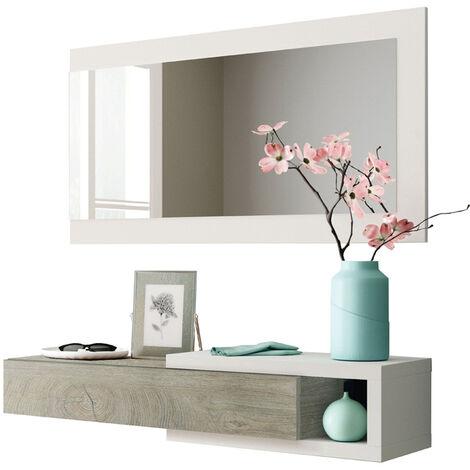 Mobile Ingresso Sospeso Moderno Bianco con Specchio Console Entrata ...