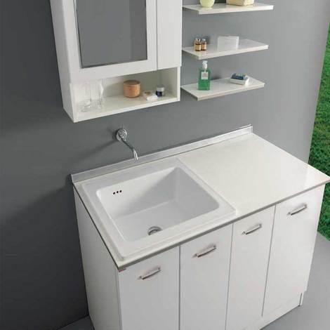 Mobili Per Lavatoio Ceramica.Mobile Inserimento Lavatrice Con Lavatoio Xilon Nanco 128x69 Bianco Lucido