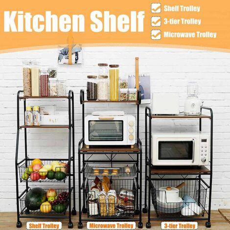 Mobile Kitchen Shelf Freestanding Kitchen Shelves Freestanding Multilayer Storage Shelf Microwave Oven (TypeA)