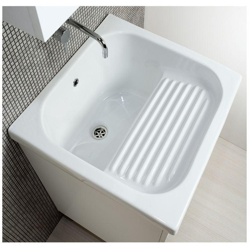 Lavatoio Ceramica Con Mobile Prezzi.Mobile Lavatoio Con Vasca In Ceramica E Strofinatoio Integrato 60 X 60 Bianco