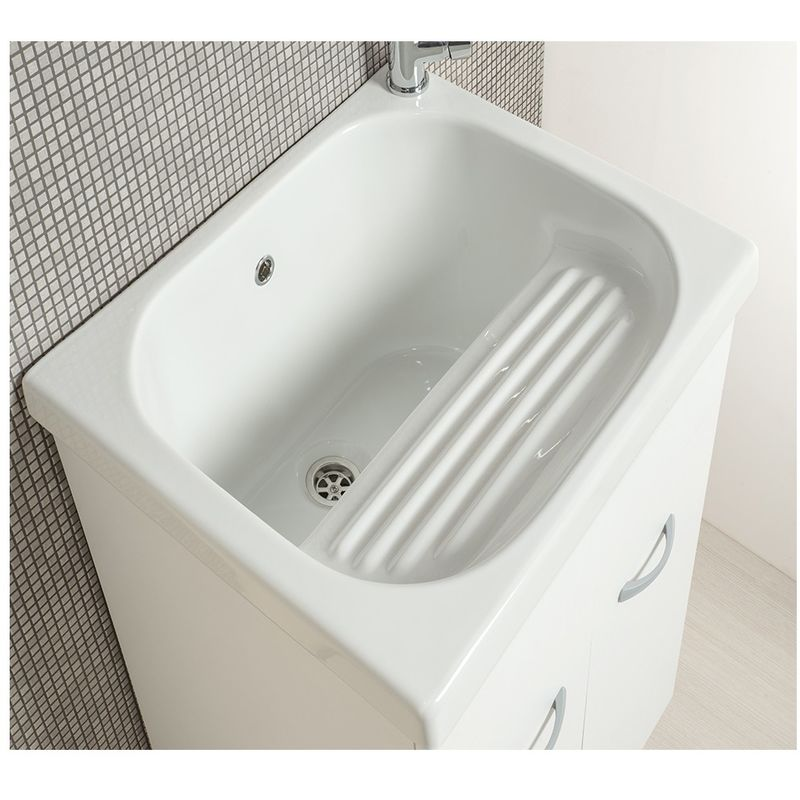 Lavatoio Ceramica Con Mobile.Mobile Lavatoio Con Vasca In Ceramica E Strofinatoio Integrato 60 X 60 Bianco