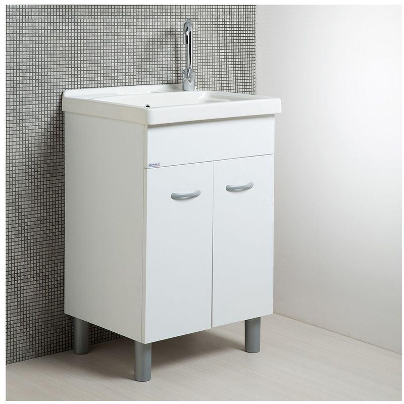Pilozza Ceramica Con Mobile.Mobile Lavatoio Lavapanni Con Vasca In Ceramica 60 X 50 Bianco Opaco Serie Onda