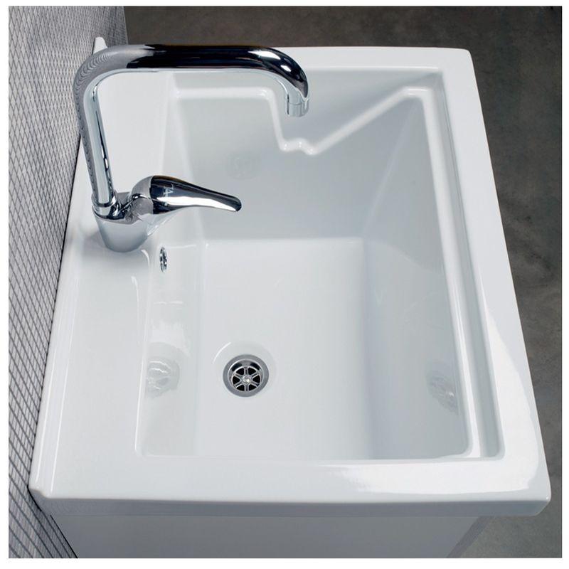 Lavatoio Ceramica Con Mobile.Mobile Lavatoio Lavapanni Con Vasca In Ceramica 60 X 50 Bianco Opaco Serie Onda