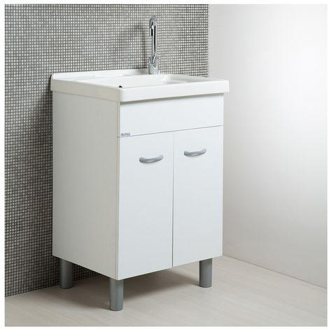 Vasca Lavatoio In Ceramica.Mobile Lavatoio Lavapanni Con Vasca In Ceramica 60 X 50 Bianco Opaco