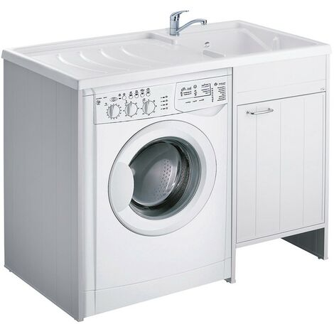 Mobile Lavatrice e Lavatoio Bianco 109 x 60 in PVC con Lavapanni a Destra