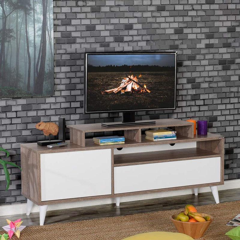 Mobile Moderno Porta TV 150 Rovere Bianco Soggiorno Basso Parete Design in  Legno