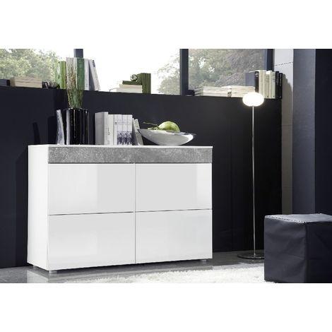 Mobile polyvalent Sb Light - avec des etageres, des etageres - du salon, de l'entree, du salon - Blanc en Bois, MDF, 100 x 40 x 75 cm
