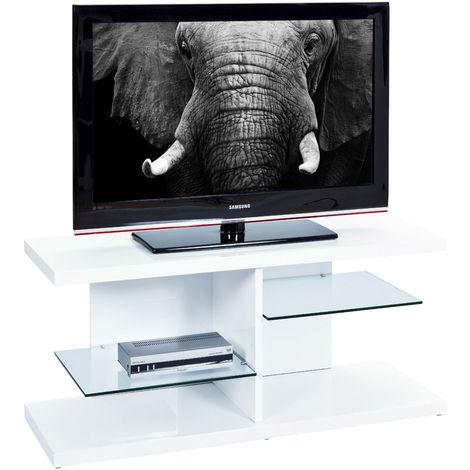 Mobile Porta TV 120 Bianco con Ripiani Vetro Moderno Soggiorno ...