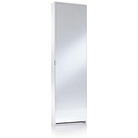 Mobile scarpiera 1 anta a specchio bianco 5 ripiani arredamento casa ...