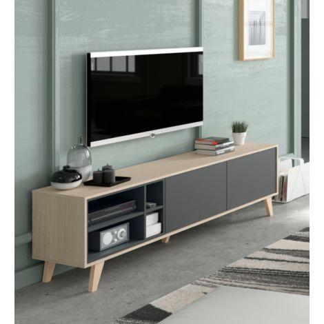 Mobile soggiorno porta tv Zaiken 180 cm Rovere chiaro e ...