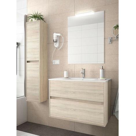 Mobile sospeso in legno a 2 cass.con lavabo, specch. luce led e colonna dim. 910x460x560h mm. mod. Noja col.caledonia