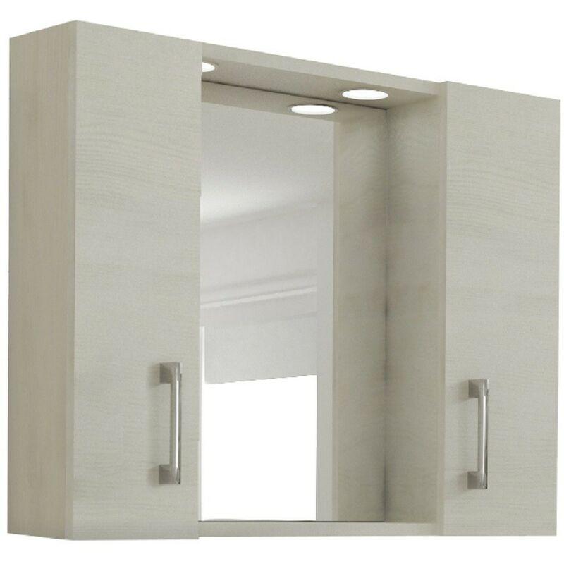 Specchio Bagno Mobile.Mobile Specchio Bagno Con 2 Ante Rovere Chiaro 77x16x57h Capaldo