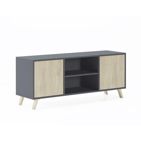 Mobile TV 140 a 2 porte, soggiorno, modello WIND, modello Puccini, struttura colore Puccini, porte colore Bianco, misure 140x40x57cm altezza.