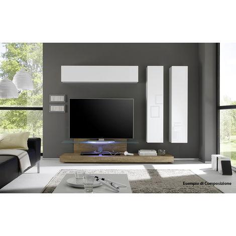 Mobile Tv Mensola In Vetro 51x200x51cm Tft Cube Bianco Lucido