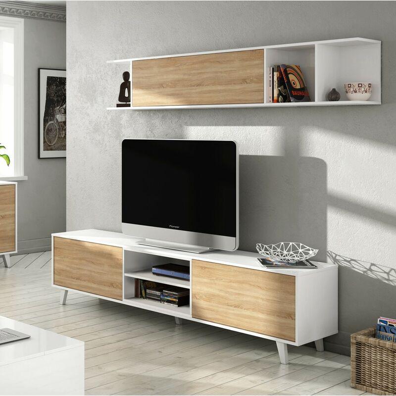 Mobile TV Moderno Bianco Rovere Parete Attrezzata Soggiorno Pensile Sospeso  Ante