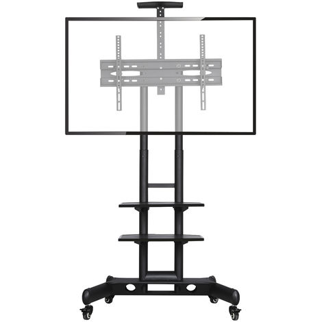 "Mobile TV Stand/Cart for 32""-65"" LCD/LED Flat Screen with Wheels & 3-tier Shelve"