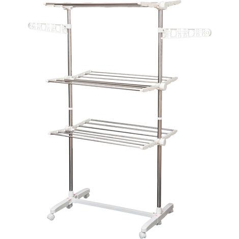 Mobiler Wäscheständer Wäschetrockner-Turm Seitenflügel auf 4 Ebenen klappbar