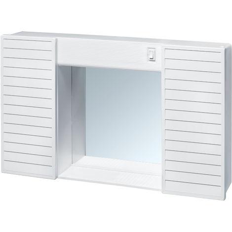 Specchio Bagno Plastica.Mobiletto Da Bagno In Plastica C Specchio Due Ante Luce E Interruttore Dim 58x37x12 Col Bianco