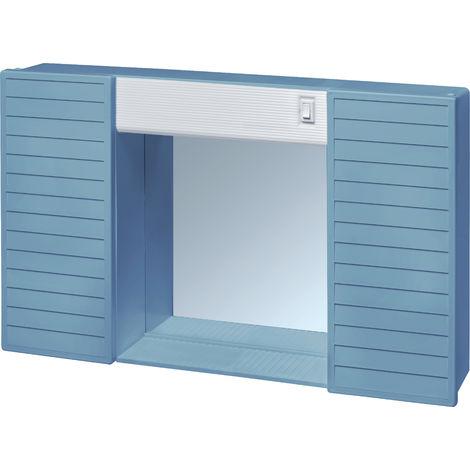 MOBILETTO DA BAGNO IN PLASTICA C/SPECCHIO, DUE ANTE, LUCE E INTERRUTTORE. DIM: 58x37x12 COL: BLUE BERMUDA