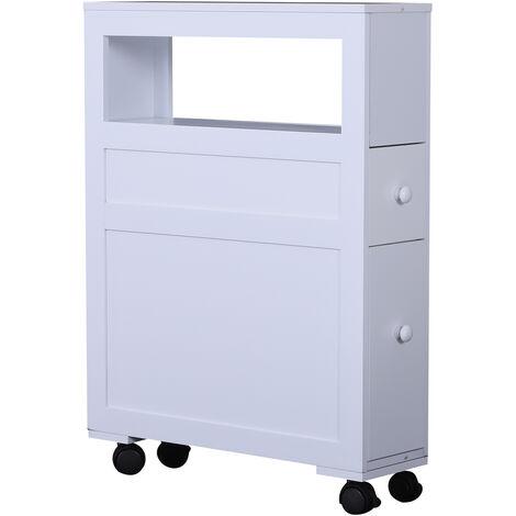 Mobiletto Da Cucina In Legno Con Ripiano E 2 Cassetti Posate Bianco  16x52x66 Cm Benzoni