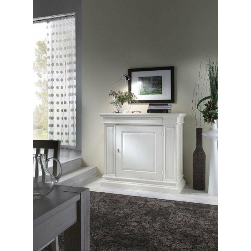 MOBILI 2G - Credenza in legno 1 porta 1 cassetto arte povera laccato bianco l.125 p.57 h.113