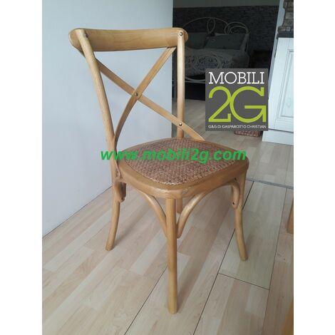 MOBILI 2G - Sedia Cross Bistrot shabby vintage legno Olmo seduta rivestita Rattan naturale