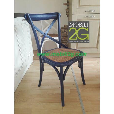 MOBILI 2G - Sedie in legno colorato laccato blù arredamento shabby vintage classico